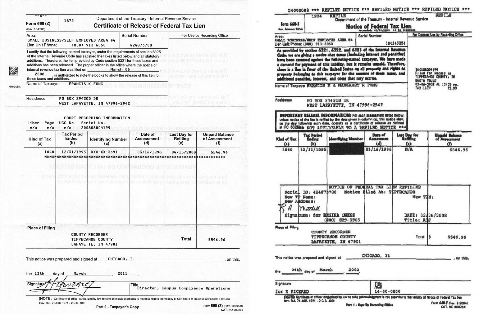 Federal Tax Lien Form 668z Certificate Of Release Of Federal Tax Lien