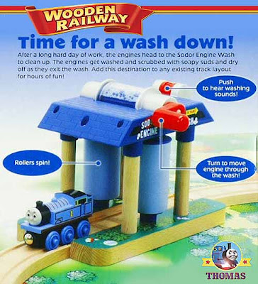 Cool cute tiny Thomas train wooden railway Sodor Wash Down model tunnel design toy for Boys sturdy