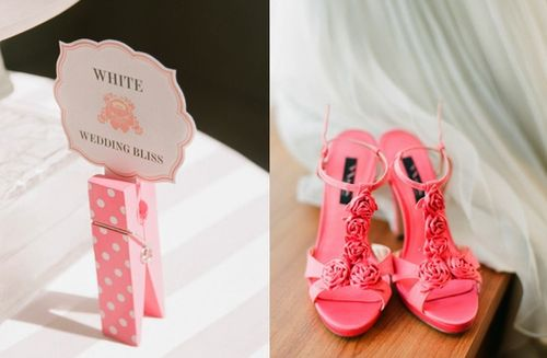 Pop of color wedding shoes