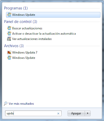 search Windows Update window
