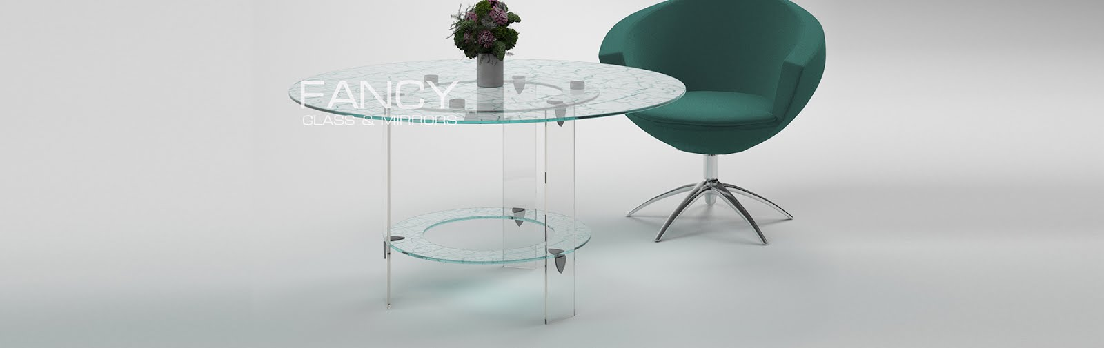 Circular dining table made of cracle laminated glass cascade