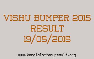 VISHU BUMPER 2015 Lottery Result 19-5-2015