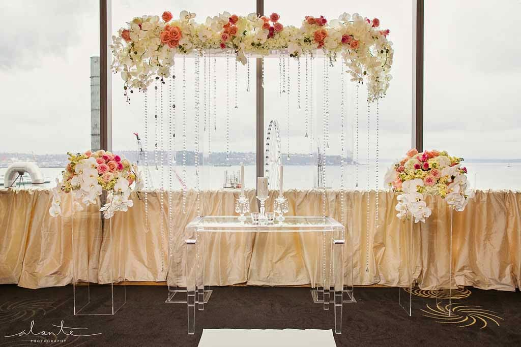 Four Seasons Hotel Seattle wedding, luxury wedding ceremony, luxury wedding flowers
