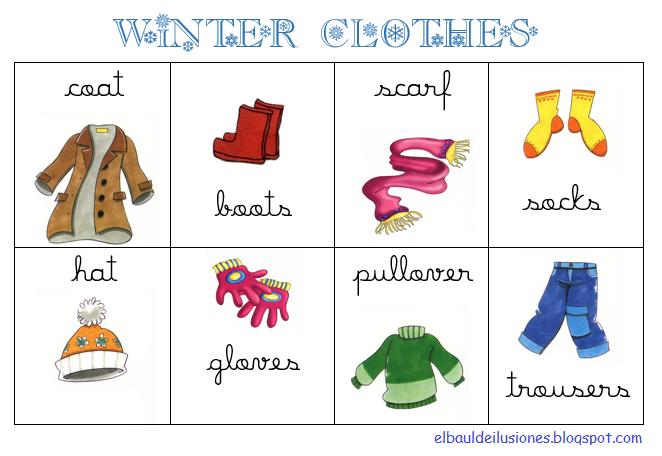 10 prendas de ropa en inglés y español - Imagui