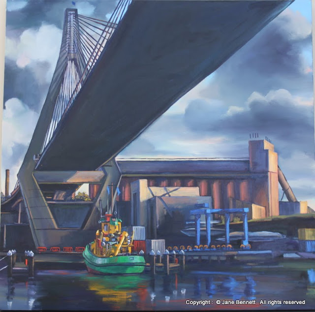 oil painting of Anzac Bridge by artist Jane Bennett