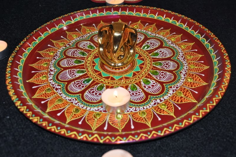 Diwali puja thali decoration diwali pooja thali ideas for Aarti thali decoration designs