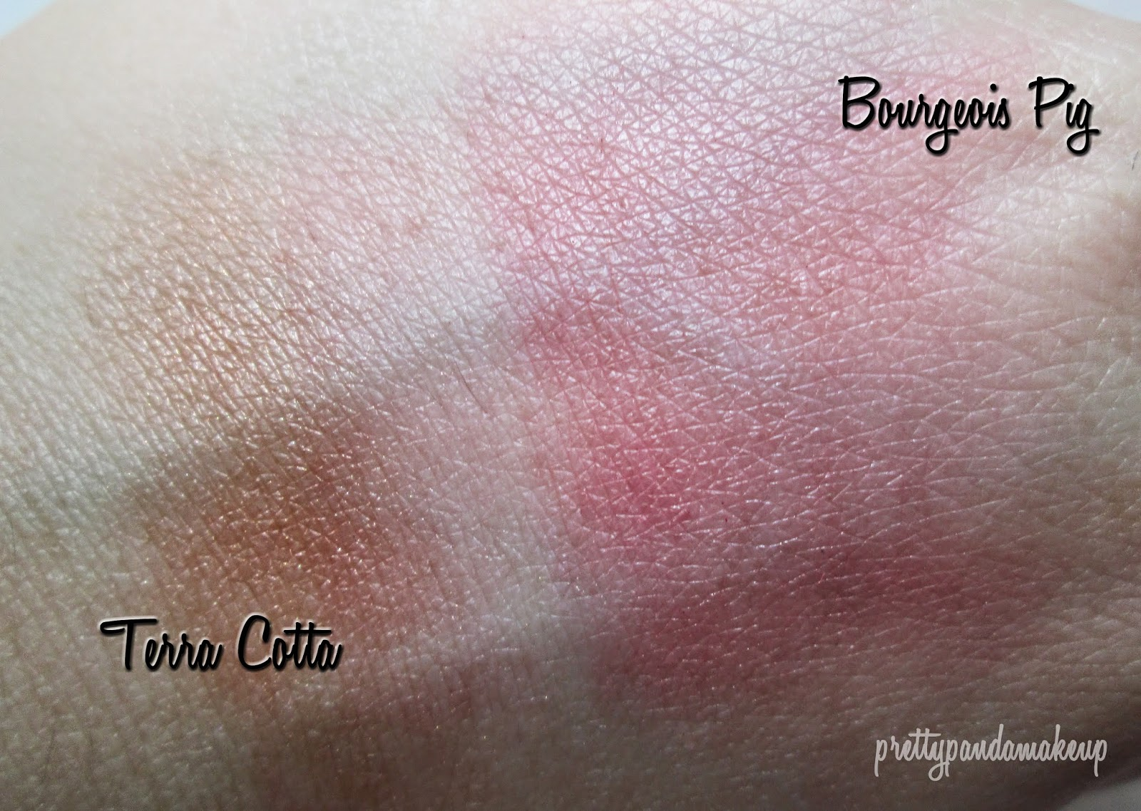 NYX Powder Blushes in Bourgeois Pig and Terra Cotta Swatches and Review