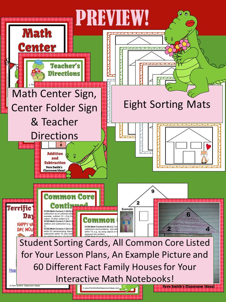 Valentines Addition & Subtraction Fact Families Center Game & Interactive Pages