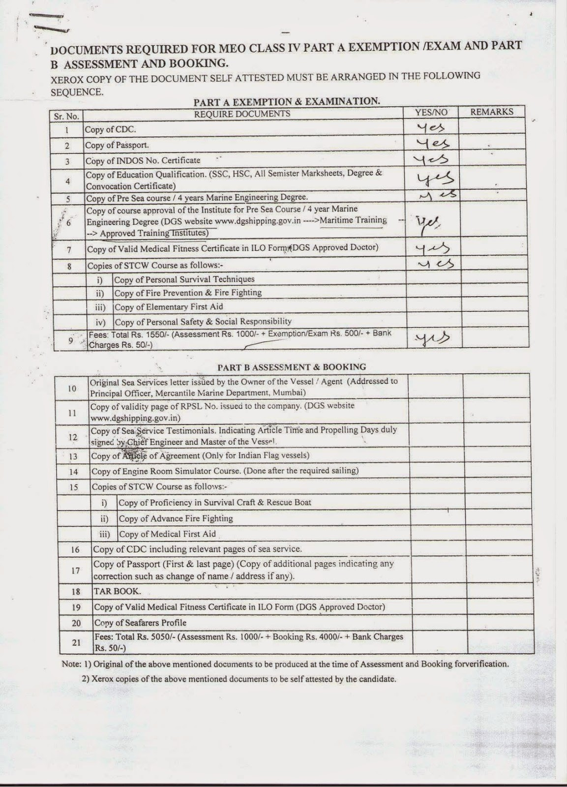 My life as a mariner class iv part a exemption in mumbai mmd for Documents checklist visa 600