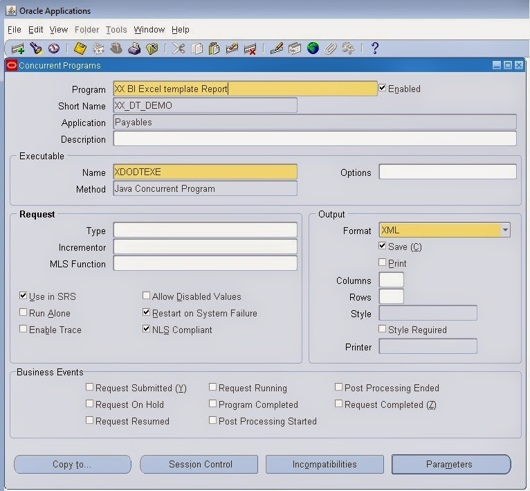 Oracle masterminds excel template for bi publisher report for Bi publisher data template example