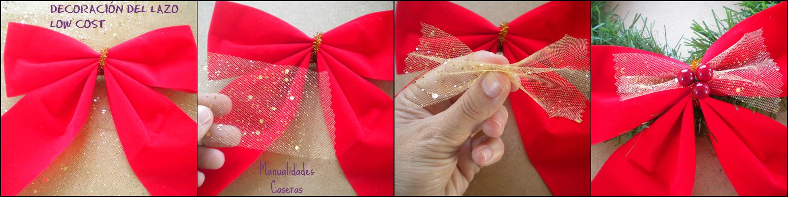 caseras faciles como decorar una lazo para una corona de navidad low cost con tela