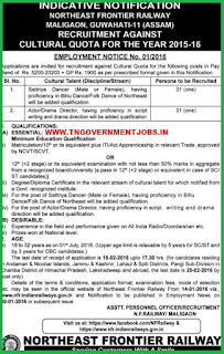 Applications are invited for Cultural Quota Posts NFR Guwahati