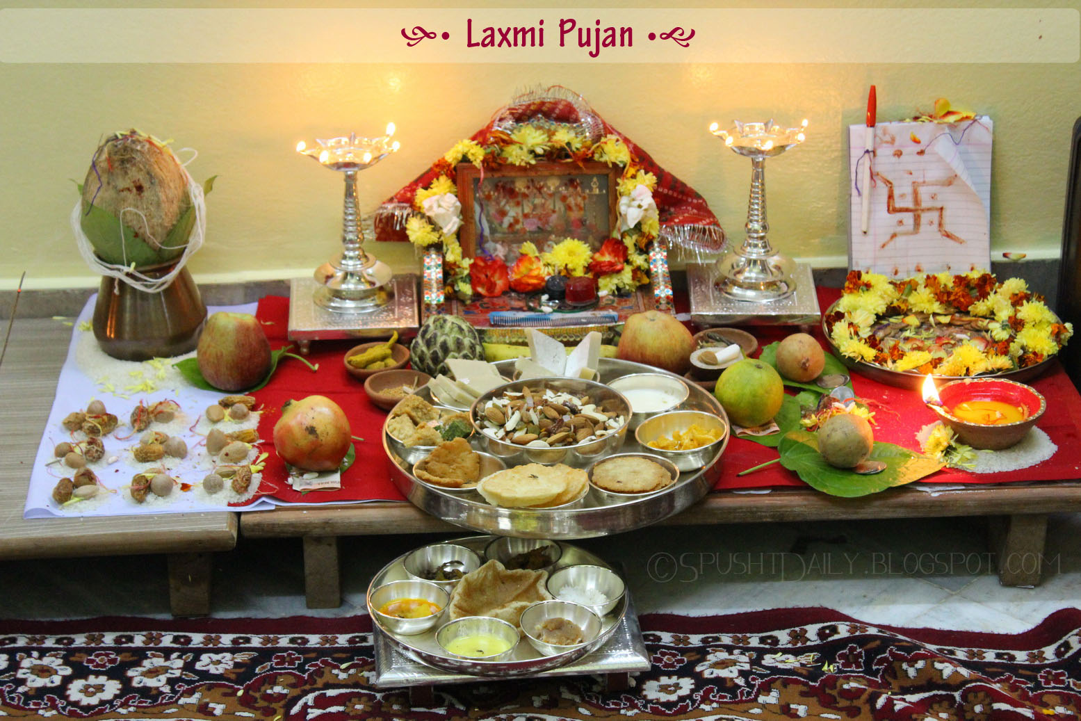 diwali pujan Simple pujan keep the place of worship absolutely neat and clean wear new clothes for the pujan decorate & lighten up every place of.