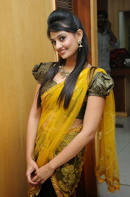 Nikitha Narayan Stills in Yellow and Black Half Saree