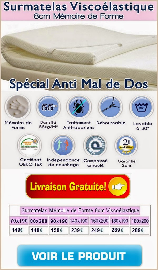 matelas m moire de forme anti mal de dos surmatelas m moire de forme. Black Bedroom Furniture Sets. Home Design Ideas