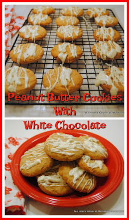 Peanut Butter Cookies with White Chocolate Drizzle