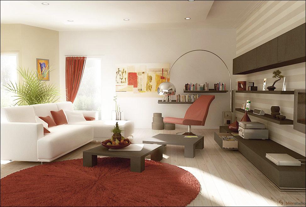 Fotos de dise os de salas en colores rojo y blanco c mo - Fotos d salas ...