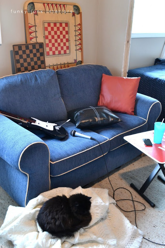 blue couch in teen boy's room makeover