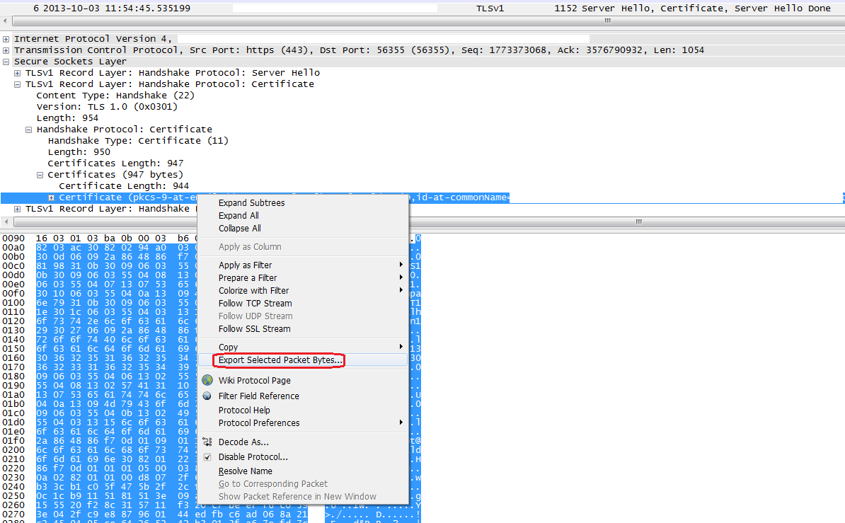 Exporting Server Certificate From Wireshark And Verifying