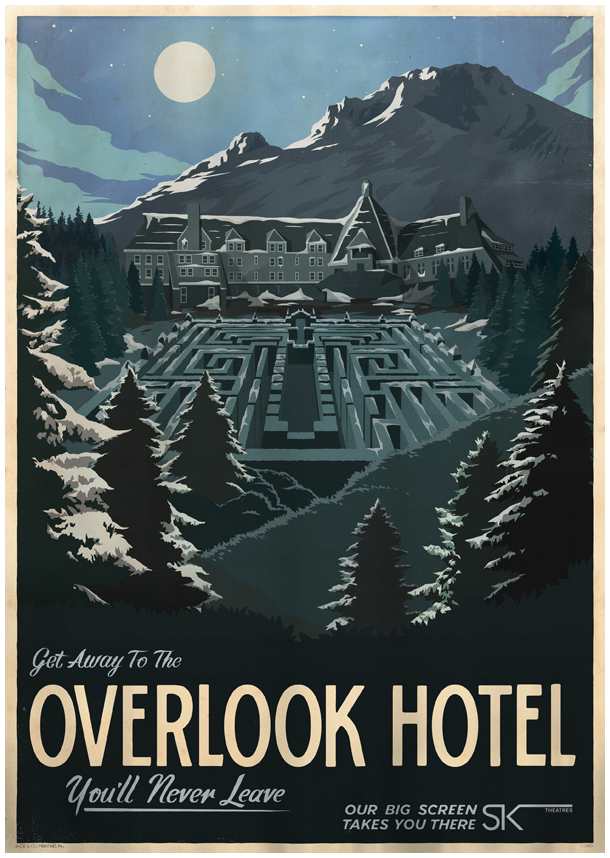 The geeky nerfherder cool art movie travel posters by for Overlook hotel decor