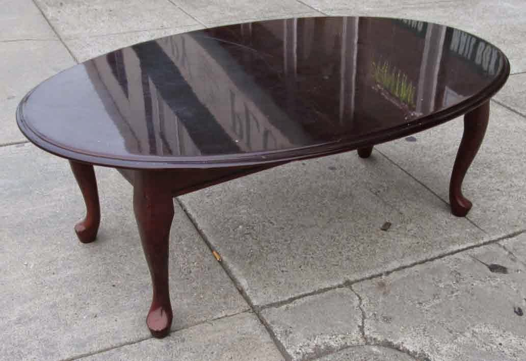 Uhuru Furniture Collectibles Sold Cherry Finish Oval Coffee Table 30