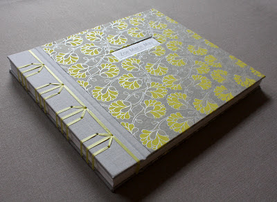 Handmade book with Japanese stab binding and floral print