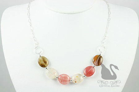 Golden Strawberry Quartz Gemstone Bead Necklace (N096), on necklace bust