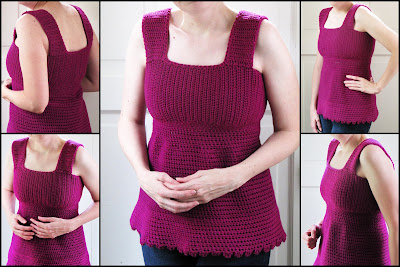 5 photos taken from every angle, of my second magenta-pink Sea Breeze tank top being modeled by me.