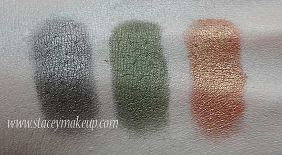 Makeup Geek Eyeshadows swatches moondust, poison ivy, glamorous