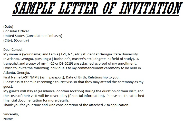 sample letter of invitation