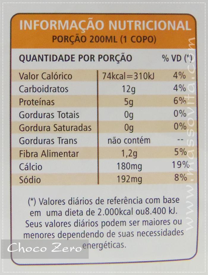 Choco Zero? Informações nutricionais