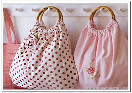 Manualidades para compartir como hacer bolsa de tela con rosa paso a paso - Como hacer manualidades con tela ...