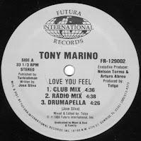 Tony Marino - Love You Feel - (Vinyl, 12'' 1989)(Futura International Records)