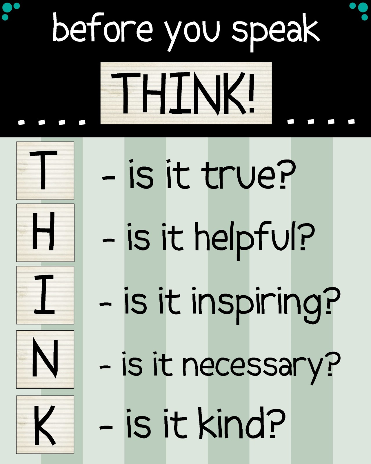 think before speaking essay It is important to think through one's courses of actions before acting this is  because there are often many ways of solving a given problem some solutions  to a.