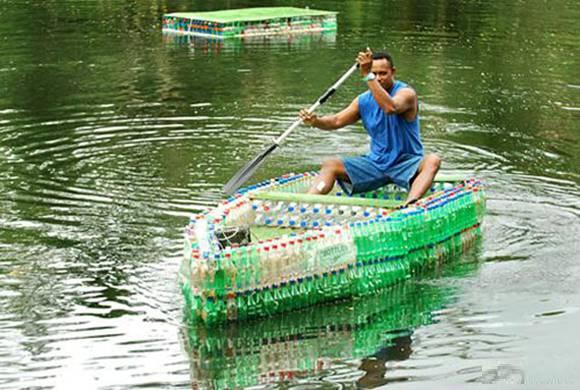 housefullhub boat and christmas tree made of plastic bottles
