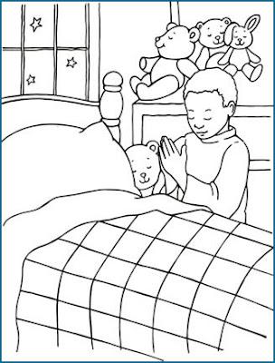 Dibujos Cristianos: Niño orando en la cama para colorear | Dibujos ...