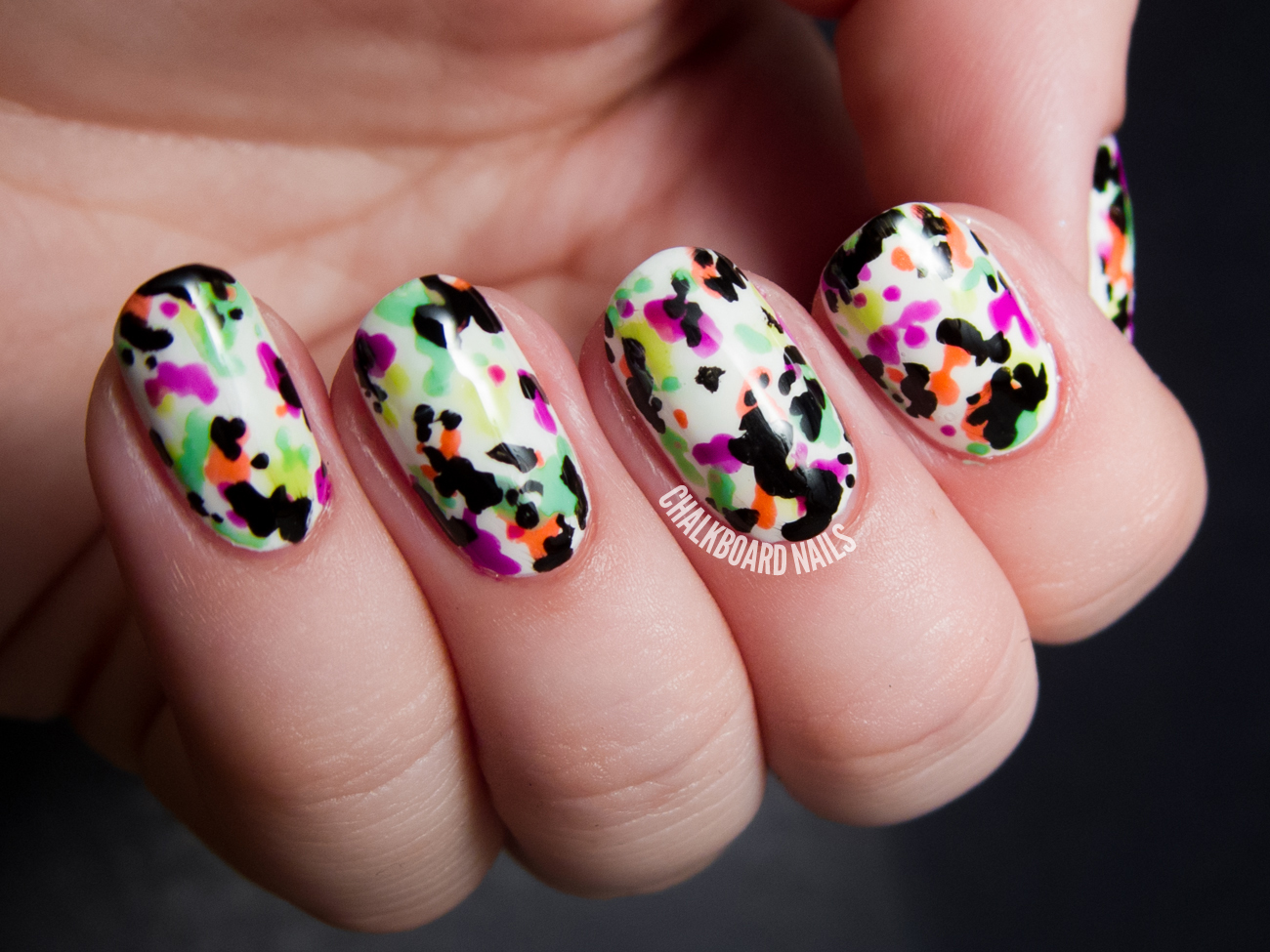 Abstract Splattered Floral Opi Neons Nail Art Chalkboard Nails