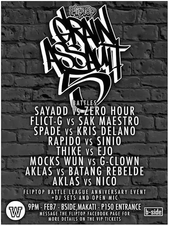 Grain Assault 5, FlipTop, Fliptop Anniversary, Aklas, Anygma, Fliptopbattles The Fliptop Battle League, Zaito, Loonie, Dello, Mocks Wun, Sinio