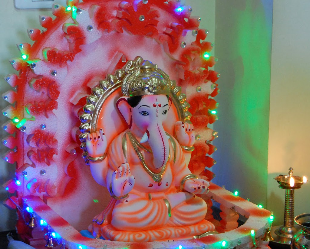 100 home decoration for ganesh festival celebrating for Background decoration for ganpati