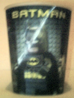 Lego Movie Happy Meal cup #3 with Batman holding batarang