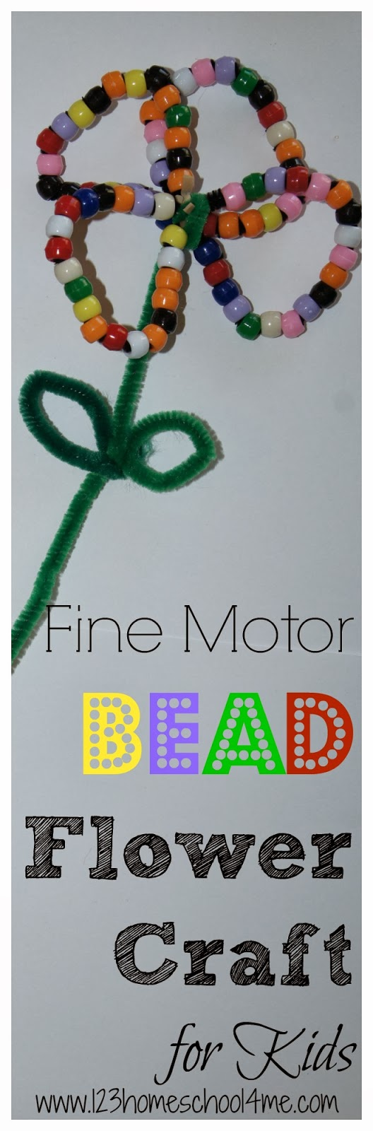 Fine motor bead flower craft for kids for Bead craft ideas for kids