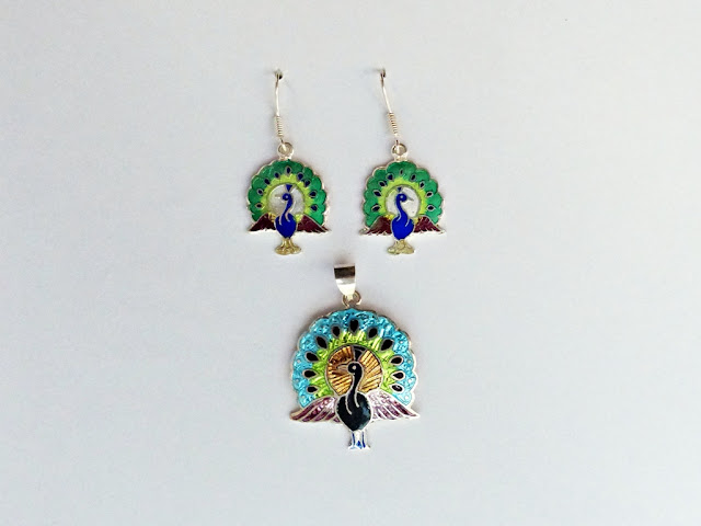 Silver meenakari peacock set, pendant and earrings