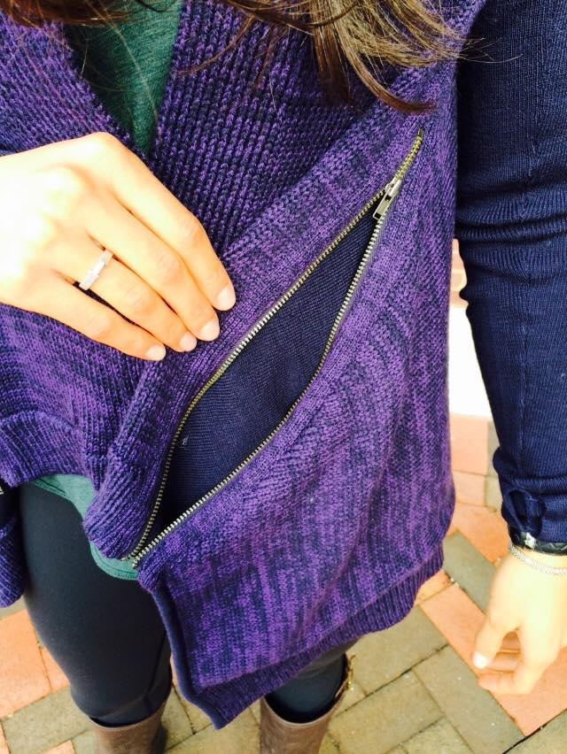 lululemon black grape wrap it up sweater pocket