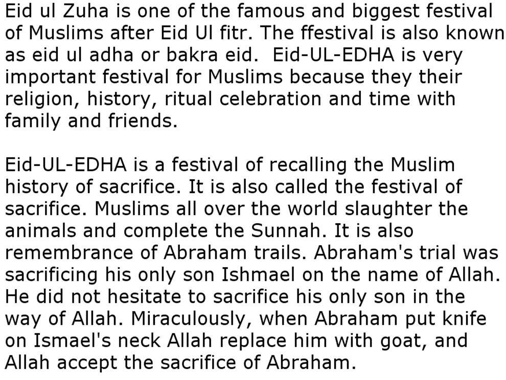 essay on eid ul adha 2010 At the end of the hajj, on november 16th, the three day festival of eid al-adha begins around the world it's a trip 2010 during the annual hajj.