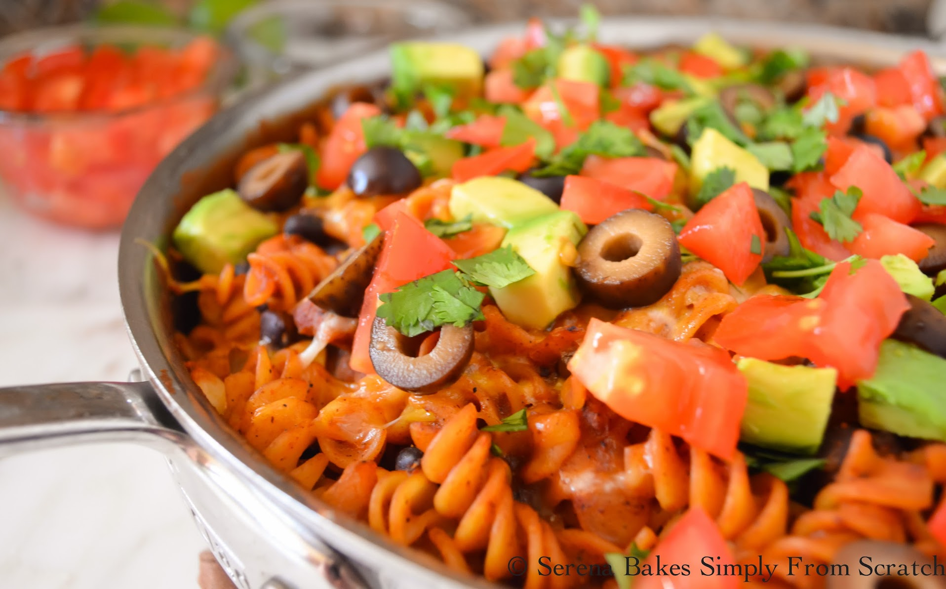 Chicken Enchilada Pasta Skillet an easy dinner done in under 30 minutes.