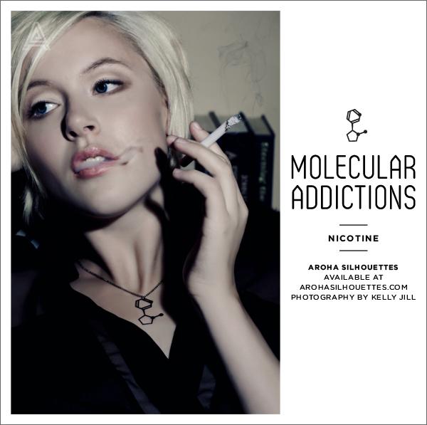 Aroha Silhouettes, Molecular Addictions, necklace, molecule, nicotine, tobacco, cigarettes, necklace, black, silhouette, Kelly Jill, Vincent Lee, Talysia Ayala, Melissa Hamar