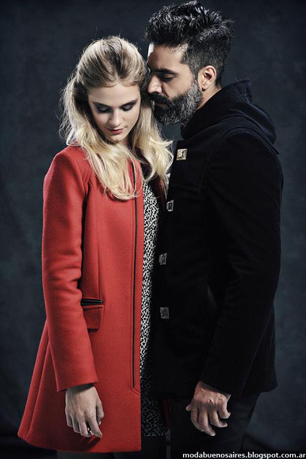 Tapados de hombre y mujer. Moda Argentina Mancini otoño invierno 2015.