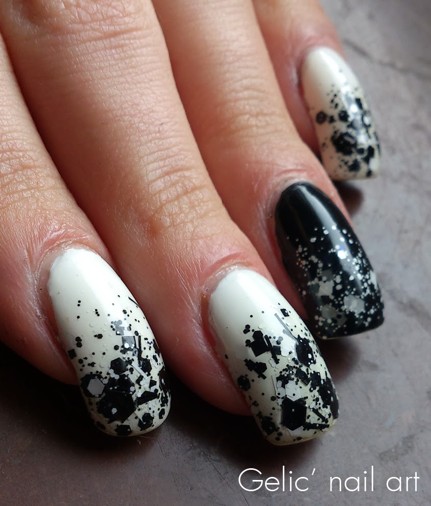Gelic Nail Art Black And White Glitter Gradient