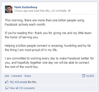 Facebook one billion users Mark Zuckerberg post