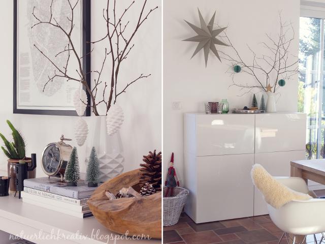 Weihnachtsdeko Weiß Grün kaminsims tannengirlande weiße blumen